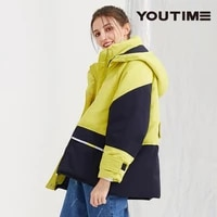 winter hit color striped thicker warm 90 real down coat female original design stand collar hooded stitching ol down jacket f76