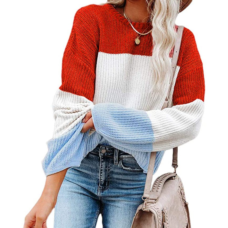 Fall/winter new style women's 2021 European and American foreign trade hit color knit sweater lantern sleeve pullover ins foreign trade explosion models girls solid color velvet ladies skirt in the children s european and american style