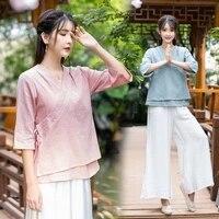 linen kungfu tai chi yoga meditation set women sportswear summer loose jogging outfit workout casual fitness set sweatshirtpant