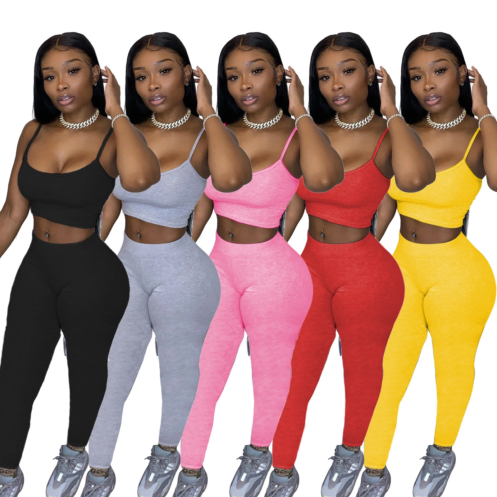 2021 European and American hot sale new women's casual sports solid color suspender trousers two-piece suit
