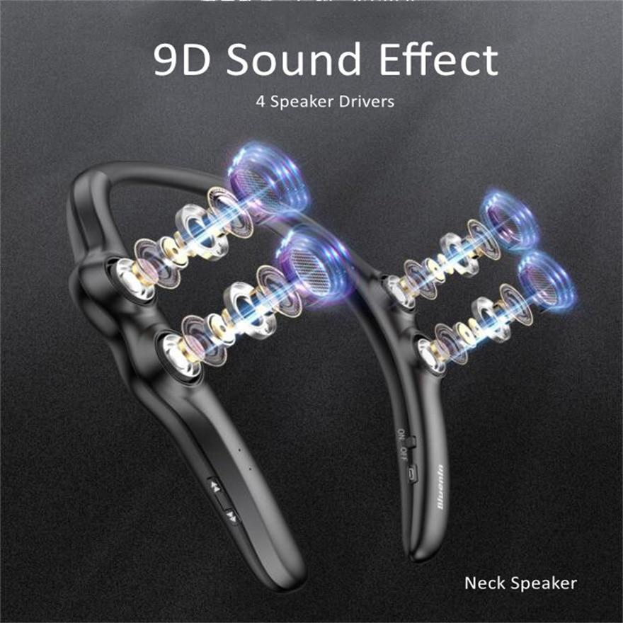 صندوق مكبر الرقبة يمكن ارتداؤها الذكية 9D المحيطي بلوتوث الموسيقى مكبرات الصوت محمول لاسلكي صغير نظام الصوت Hifi 10 Hours Play