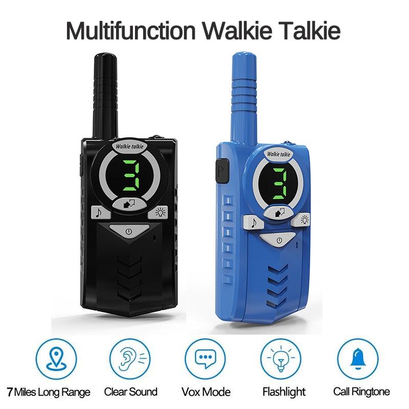 2pcs Toy Walkie Talkie Kids Radio Station Transceiver 0.5W 7km Two-way radio with Flashlight Communicator Children Birthday Gift