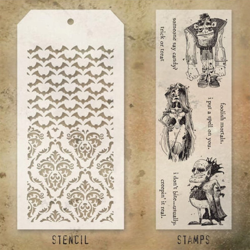 2021 New Halloween Zombie Bat Retro Clear Stamps and Stencil Set For DIY Making Greeting Card Scrapbooking No Metal Cutting Dies