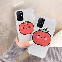 tomato cute cartoon phone case transparent for oneplus 7 9 8 t pro design shell coque capa