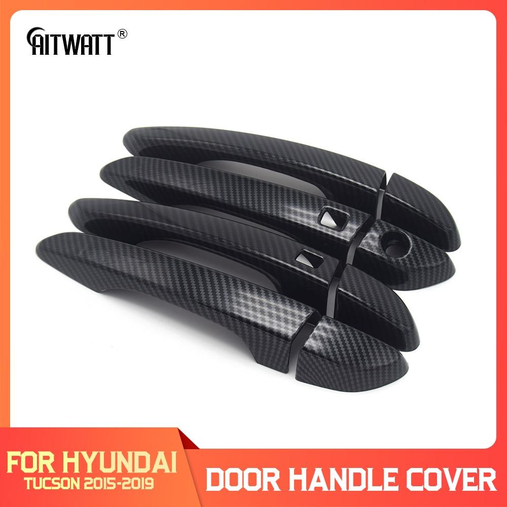 Para Hyundai Tucson TL 2015 2016 2017 2018 2019 manija de puerta de fibra de carbono cubierta protectora moldura Trim partes exteriores 8 Uds