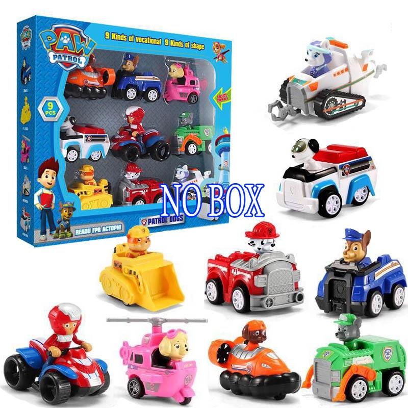 9 pçs spin mestre brinquedo carro conjunto juguete ryder marshall escombros dos desenhos animados abs figuras de ação modelo de carro crianças brinquedos para crianças presentes