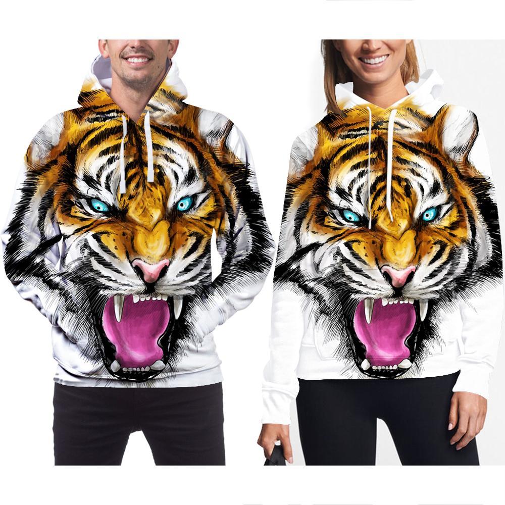 Sudaderas Con Capucha de cabeza de tigre 3D para Hombre, Sudaderas Con...