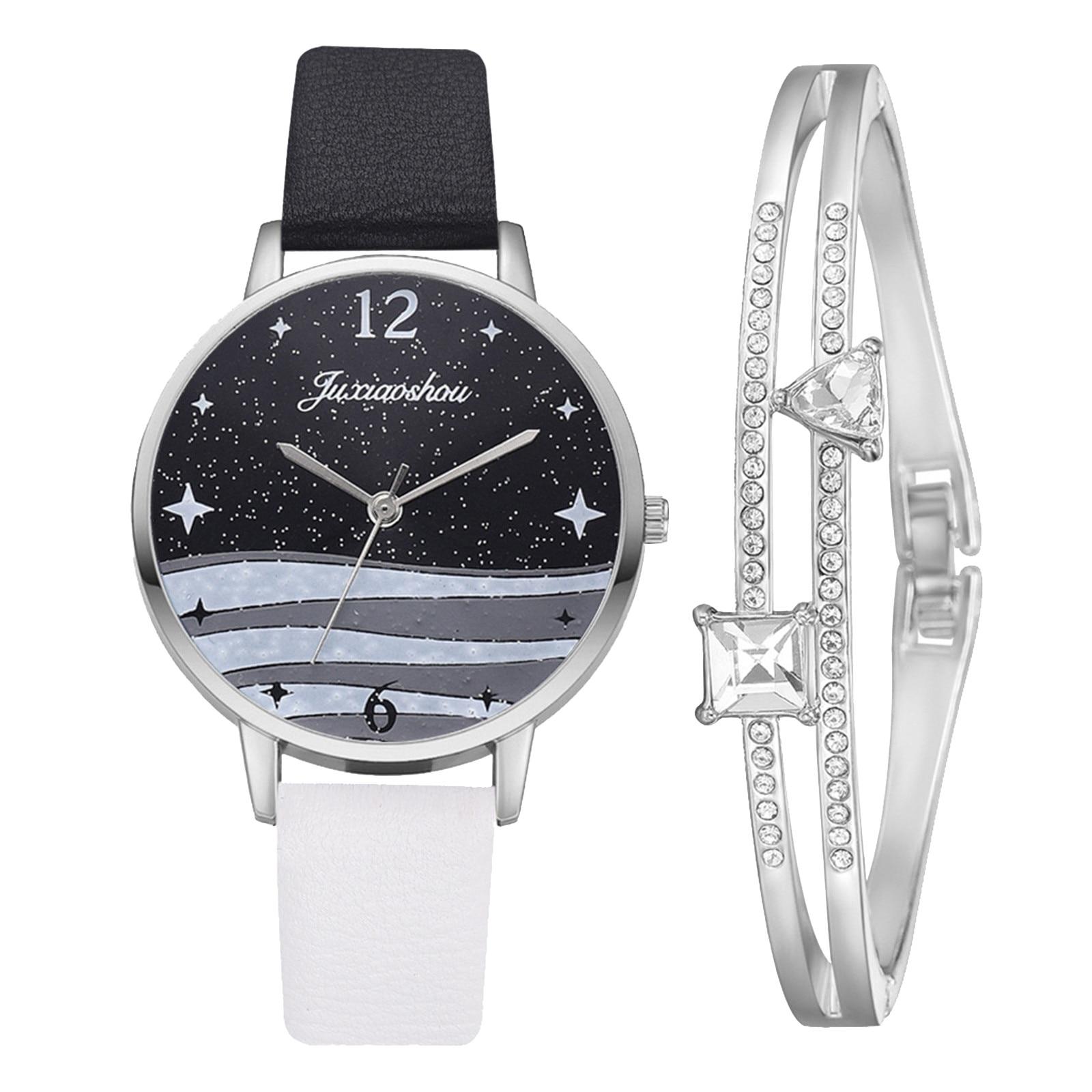 5pcs Set Top Style Fashion Women's Luxury Leather Band Analog Quartz WristWatch Ladies Watch Women D