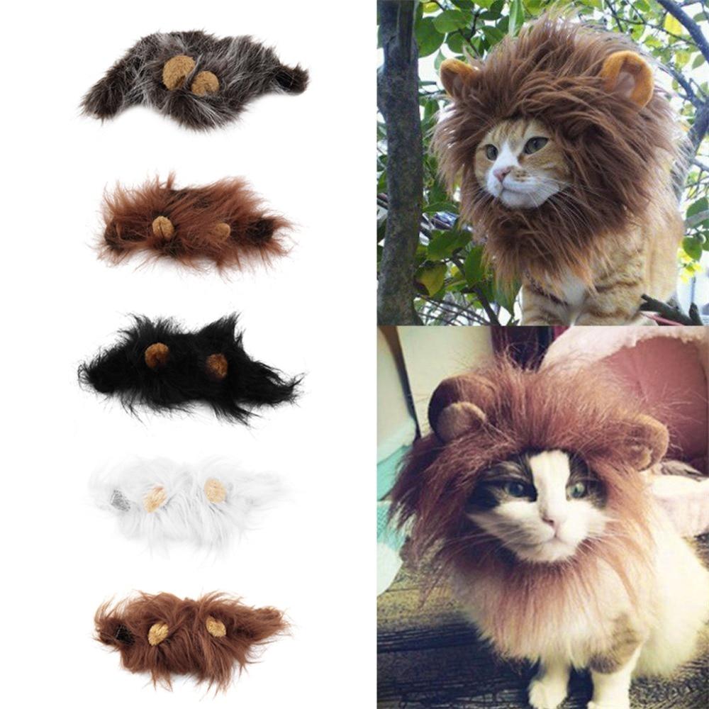 2018 gran oferta Gato disfraz de perro Peluca de emulación de pelo de León Mane orejas cabeza tapa Otoño Invierno bufanda de productos para mascotas