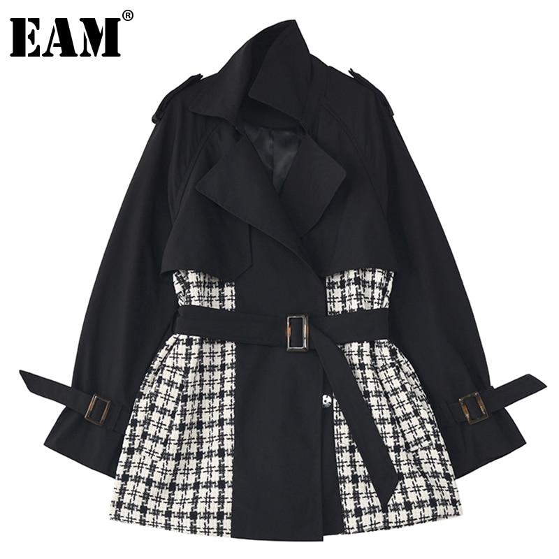 [Eam] solto ajuste xadrez preto bandagem tamanho grande jaqueta nova lapela manga longa casaco feminino moda maré primavera outono 2021 1dc525