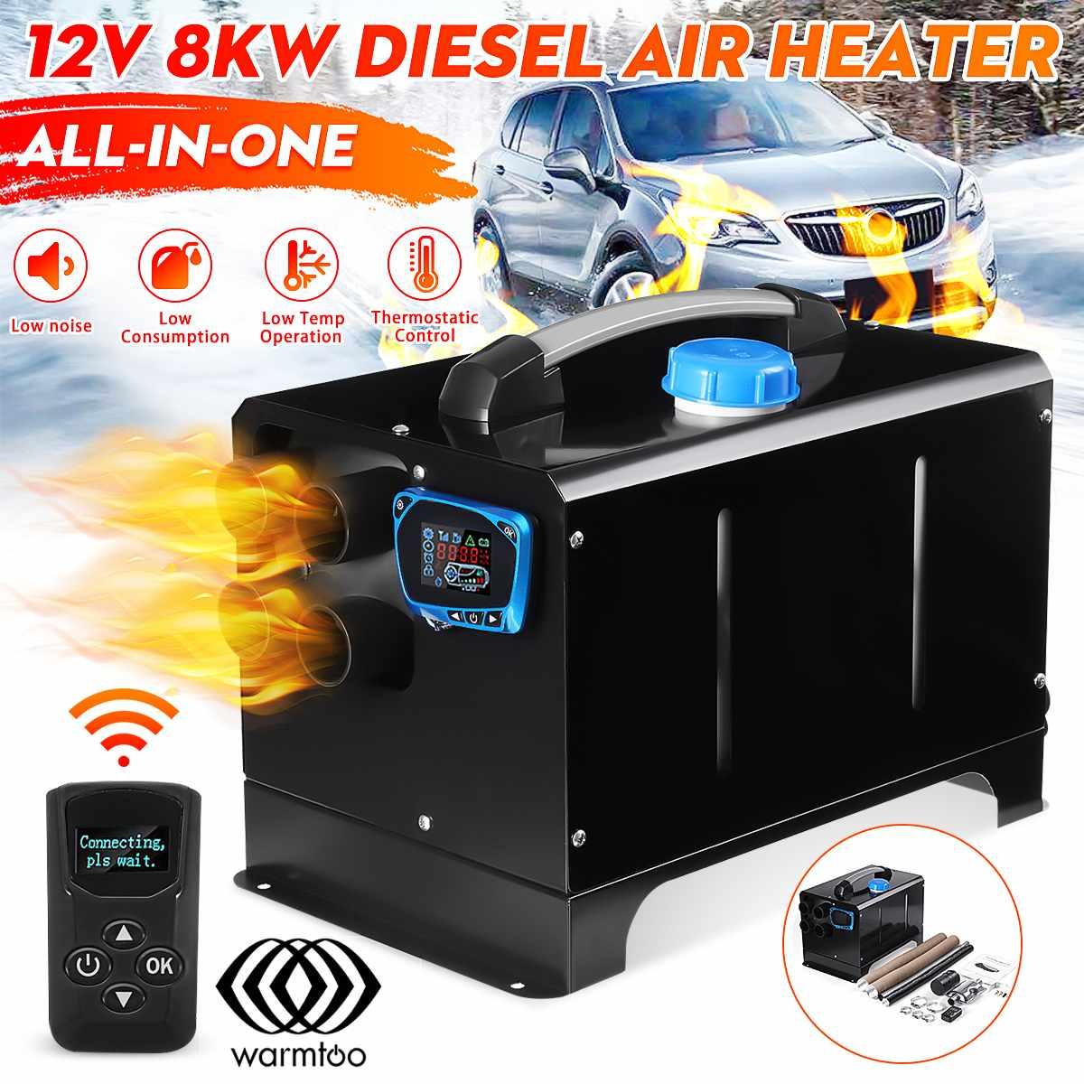 Mini calentador de aire diésel todo en uno, 8KW 12V, calentador de coche, Monitor LCD, herramienta de máquina de calentamiento de estacionamiento para coche, camión, autobús, barco RV