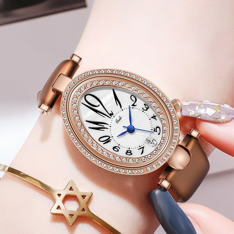 Unique Stylish Casual Watches Women Korean Fashion Ulzzang Top Brand Genuine Leather Ladies Watch Business Party Quartz Clock