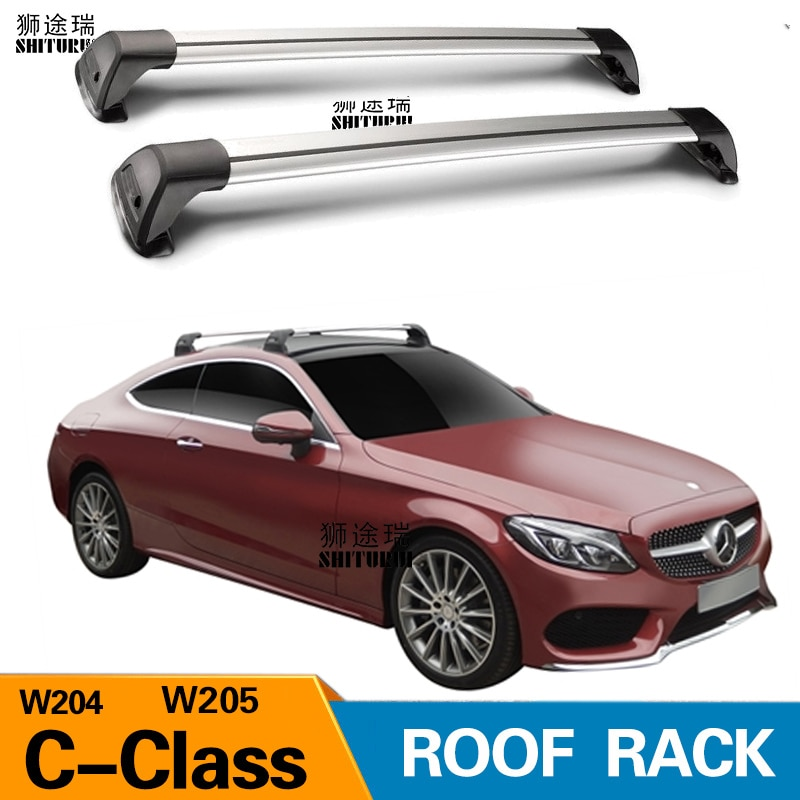 2 uds. Para mercedes-benz Clase C W205 W204 2007 + Barra de techo, aleación de aluminio especial para coches, cerradura de cinturón Led, estante de tiro CORSS 2018