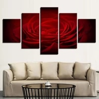 no framed canvas 5pcs modular red rose flower paintings wall art posters prints pictures paintings home decor decorations