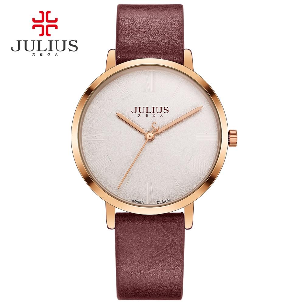 Julius Einfache Ultradünne Unisex Uhr Lederband Modo Logotipo Marke Nach Dropshipping Hodinky Whatch JA-953 Silber em Ouro Rosa