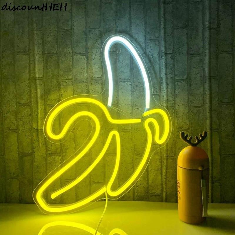 bananeira em forma de neon sinais led luzes de neon arte parede decorativa usb luzes