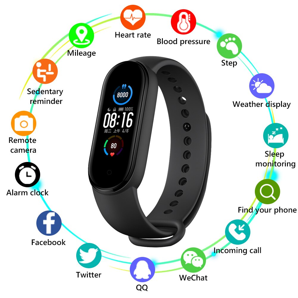 M5 Smart Band Color IPS Screen Fitness Pedometer Sport Smart Bracelet Blood Pressure Wristband Walk Step Counter Men Women Watch
