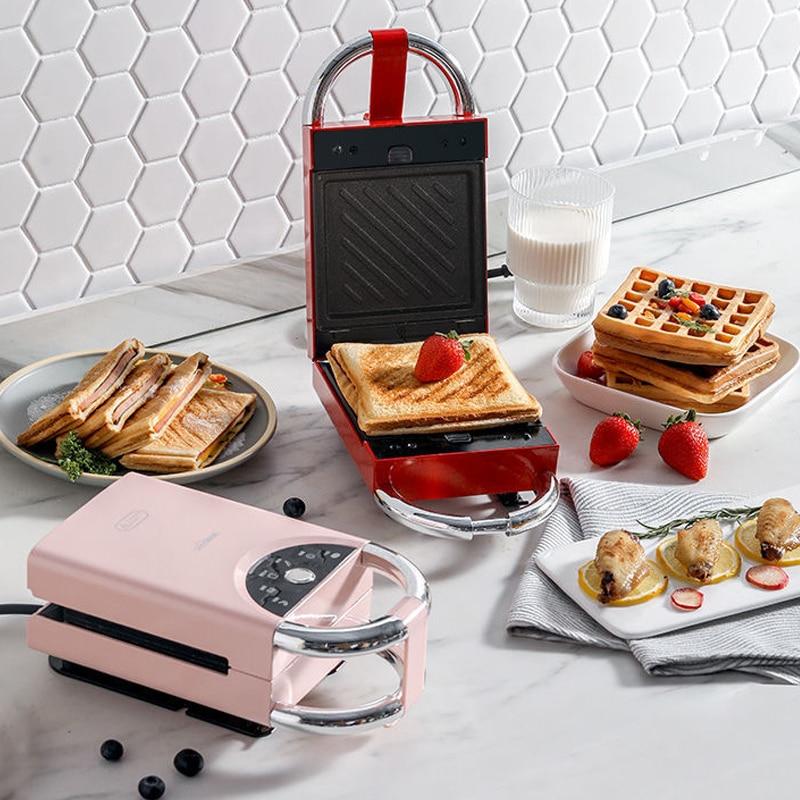 Sandwichera eléctrica para hacer waffles, máquina de desayuno multifunción para hornear, 220V,...
