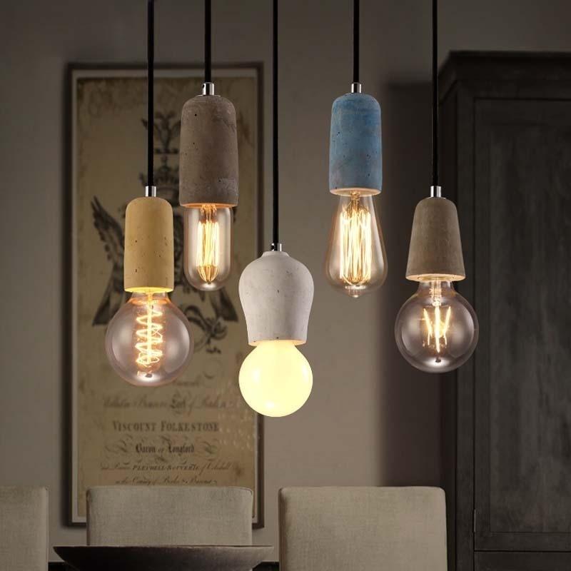 الصناعية الرجعية الاسمنت قلادة ضوء المطبخ الحمام غرفة الطعام الممر LED الخرسانة قلادة مصباح E27 اديسون قاعدة حامل