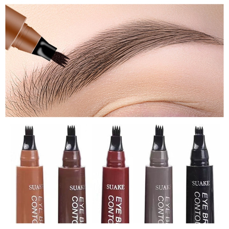 5 Color Eyebrow Pen Waterproof 4 Fork Tip Brows Tattoo Pencil Long Lasting Natural Dark Brown Liquid Eye Brow Pencil for Brazil
