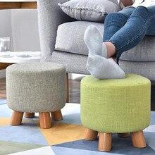 Гостиная Роскошный мягкий табурет для ног нордический круглый пуфик-табурет деревянный узор для ног круглая ткань с 4 ножками