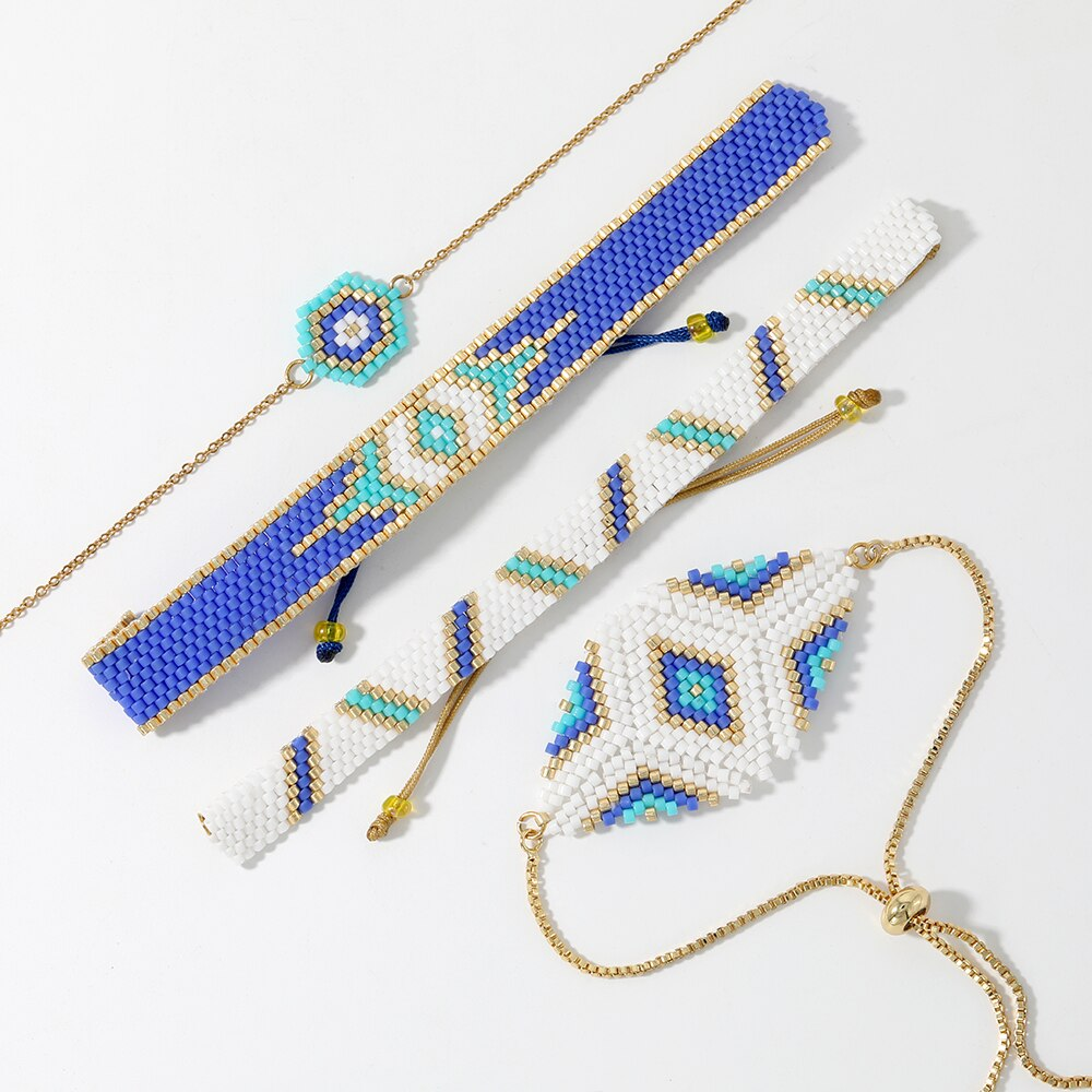 Shinusboho pulseira única para mulheres miyuki mal olho pulseiras 2020 pulseras mujer moda sorte 3d olho méxico jóias presentes