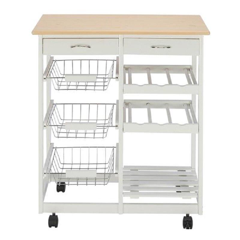عربة مطبخ متنقلة مع درجين ورفوف نبيذ بثلاث سلال ، أثاث مطبخ أبيض ، عربة طعام بعجلات