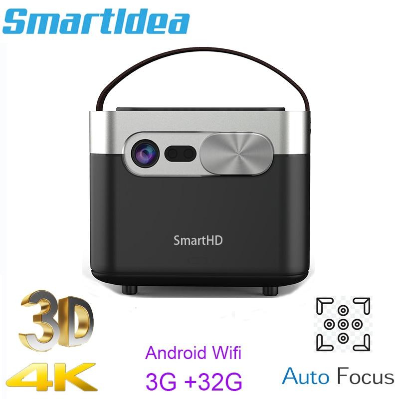 Smartldea d25 hd completo 1920x1080 projetor 4k 3d ansi 1000lumens android (3g + 32g) 5g wifi dlp proyector foco automático vídeo beamer