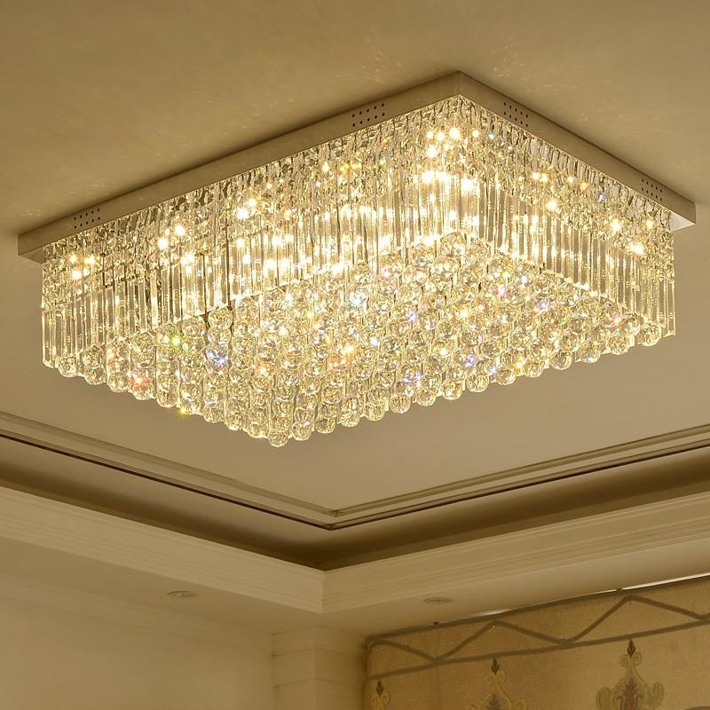 Light And Luxurious Rectangular Living Room Lamp Crystal Lamp Luxury High Grade Simple Modern Dining Room Lamp Master Bedroom La