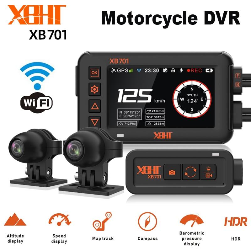 XBHT Motorcycle Camera GPS Track Moto Video Recorder Rear View Dash Cam WiFi Control Night Vision Dual 1080P Waterproof
