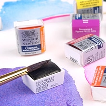 Winsor & Newton Cotman peintures à laquarelle solides demi-bloc MINI Pigments fournitures dart Pigments de peinture à laquarelle transparents