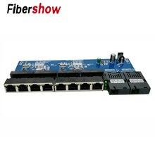 Conmutador Ethernet Gigabit, convertidor de medios ópticos de fibra PCBA 8 RJ45 UTP y 2 puertos de fibra SC, placa PCB de 10/100/1000M