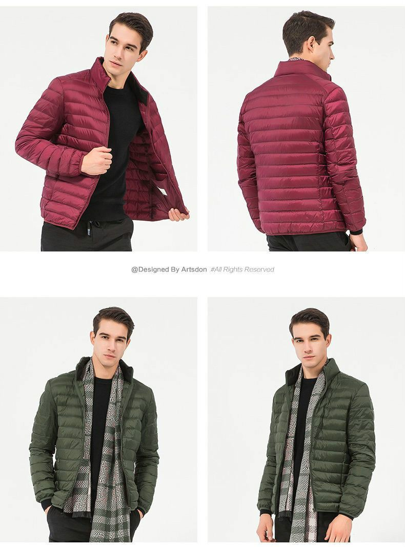 Новинка 2021, зимняя мужская легкая куртка, модная Простая мужская пуховая куртка, легкая портативная мужская пуховая куртка