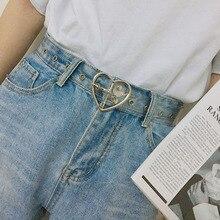 Heart Shape Buckle Belts for Women Transparent Belt Love Heart Jeans Dress Waist Strap Silver Gold P