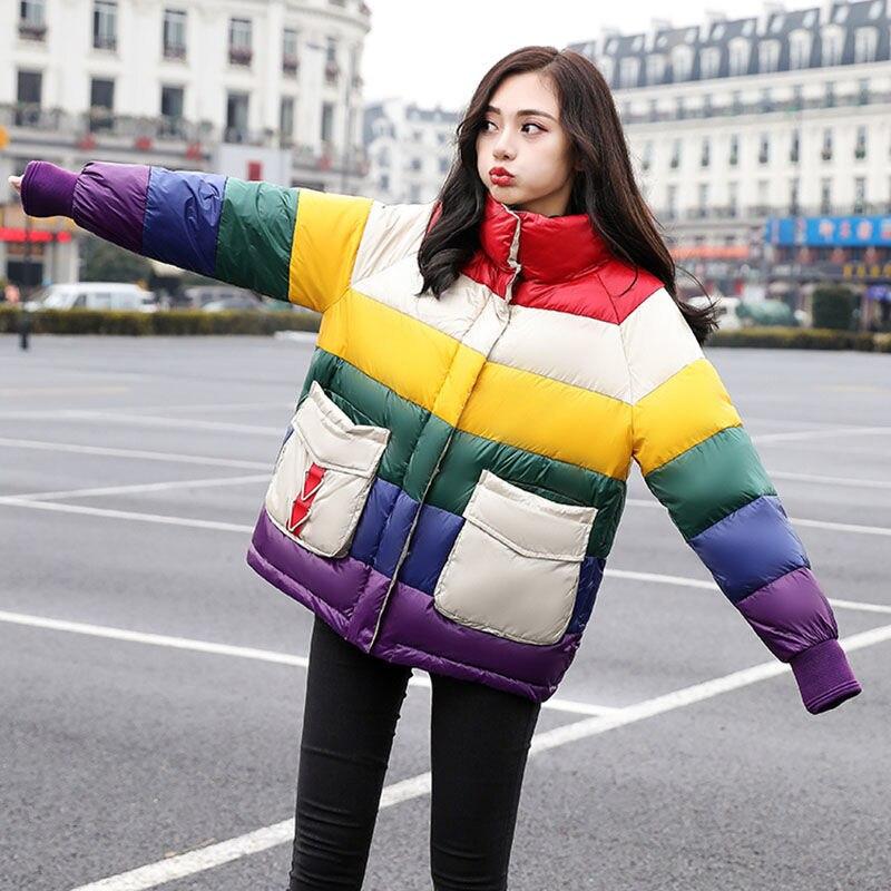 النساء ملء القطن قوس قزح الألوان سترة الخريف والشتاء نمط غير رسمي امرأة سترات معاطف الإناث
