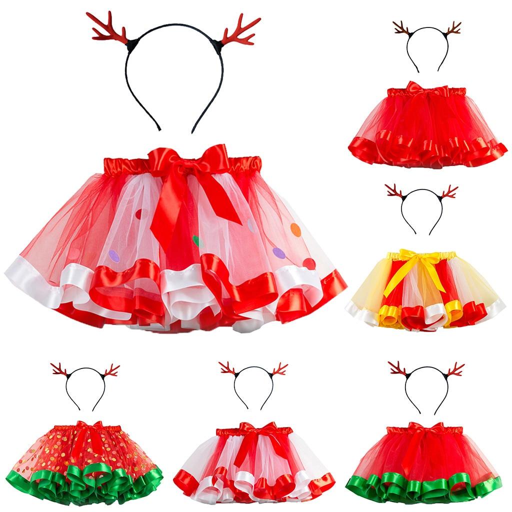 my first christmas girl Kids Girls Tutu Christmas Party Dance Ballet Toddler Costume Skirt+Deer Hairband
