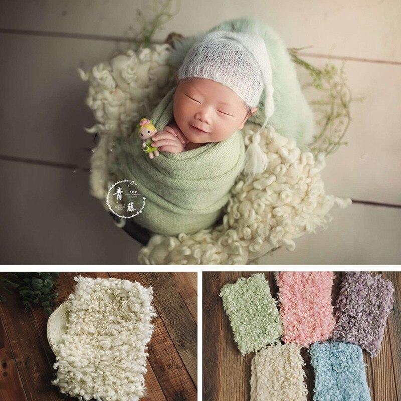 Newborn Photography Accessories Double-Sided Roll Wool Blanket Studio Baby Girl Boy Phoot Shoot Posing Props Fotografie Flokati