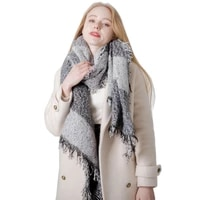autumn and winter thickened plaid scarf womens outdoor shopping neck protection keep warm shawl new fashion
