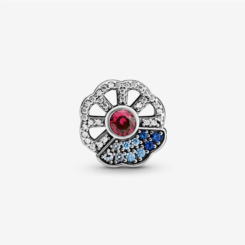 2020 Exquisite All-match New 925 Sterling Silver Blue Fan Chuxue Wish Diy Bracelet Charm Original Lady Elegant 1:1 Jewelry
