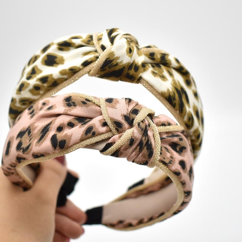 Nowe zimowe opaska do włosów z pałąkiem na głowę dla kobiet moda Turban w paski opaska do włosów Leopard wzór druku akcesoria do włosów