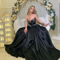 evening dress 2020 sweetheart black satin sleeveless a line floor length women formal party gowns christmas gorgeous graceful