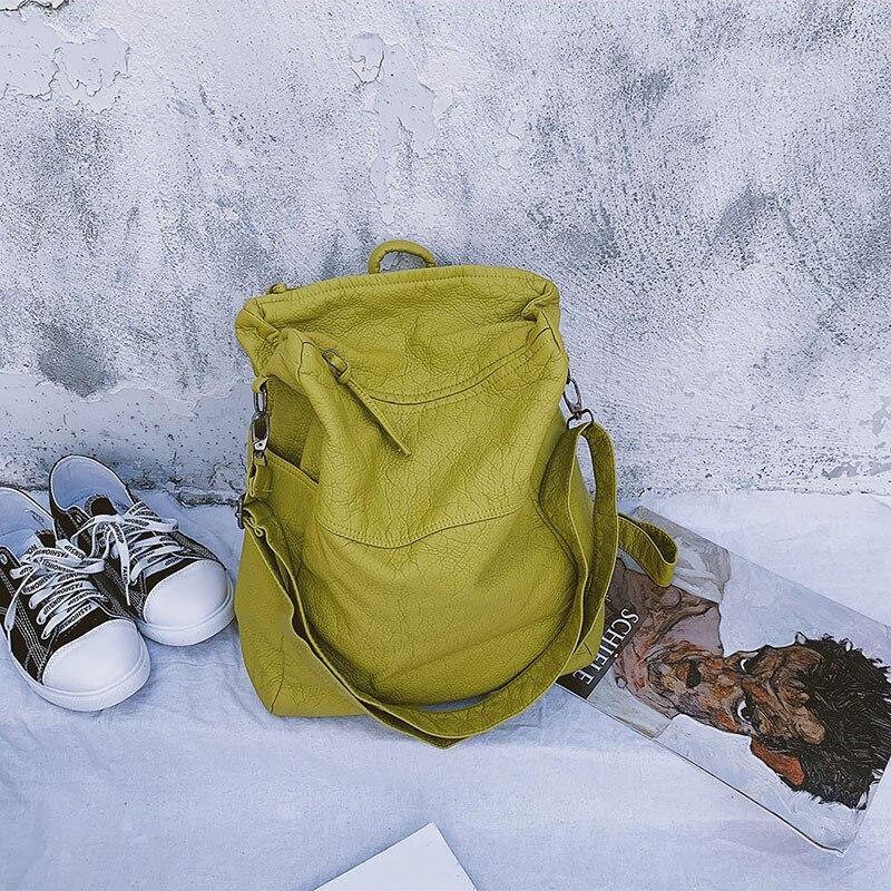 حقيبة ظهر على الموضة 2020 المرأة الجديدة مصمم على ظهره الكورية حقيبة كتف سوداء لينة الجلود حقيبة السفر حقيبة حزام ل Crossbody