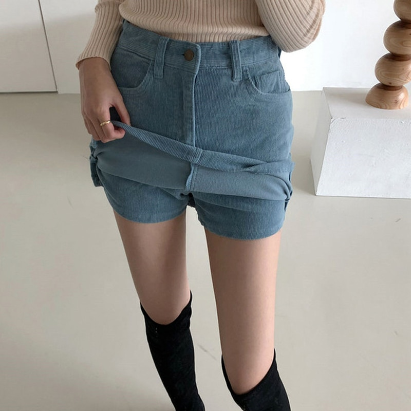 New Corduroy Vintage Mini Skirts Side Split High Waist A-line Skirts Womens 2021 Summer Fashion Casual Elegant All-match Skirts