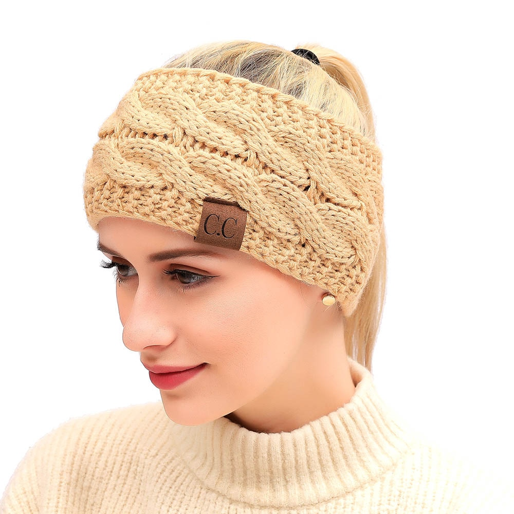 2021 Fashion New Headscarf Women's Autumn And Winter Warm Woven Bow Section Elastic Headband Hair Ba