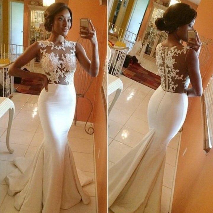 Vestido de novia sin mangas espalda abierta Apliques de encaje vestido de novia sirena kurtis 2017 nuevos vestidos de novia largos Sexy envío gratis