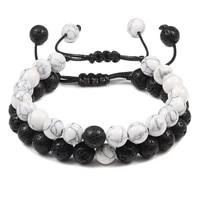 2pcsset braided bracelets men natural stone yingyang lava bead bracelet yoga bangles best friend jewelry couple gift set unisex