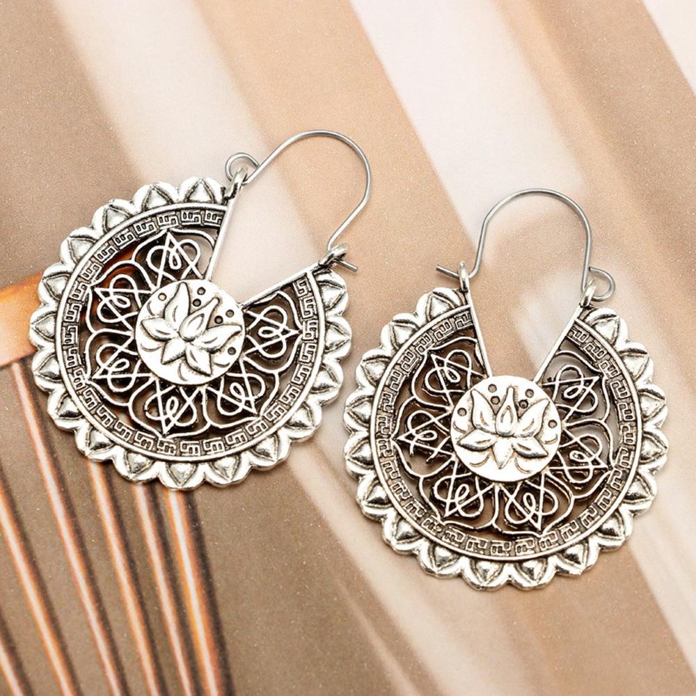 Indian African Ethnic Earrings Women Boho Lotus Drop Jewelry Ethnic Dangle Circle Earrings Enamel Vintage Earrings Prom Pendant