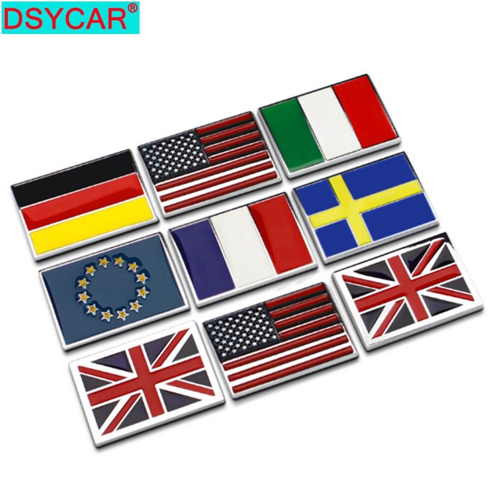 DSYCAR 1 шт. 3D Металл Великобритания/США/Германия/Франция/Италия/Швеция/ЕС флаг автомобиля боковое крыло задний багажник эмблема значок наклей...