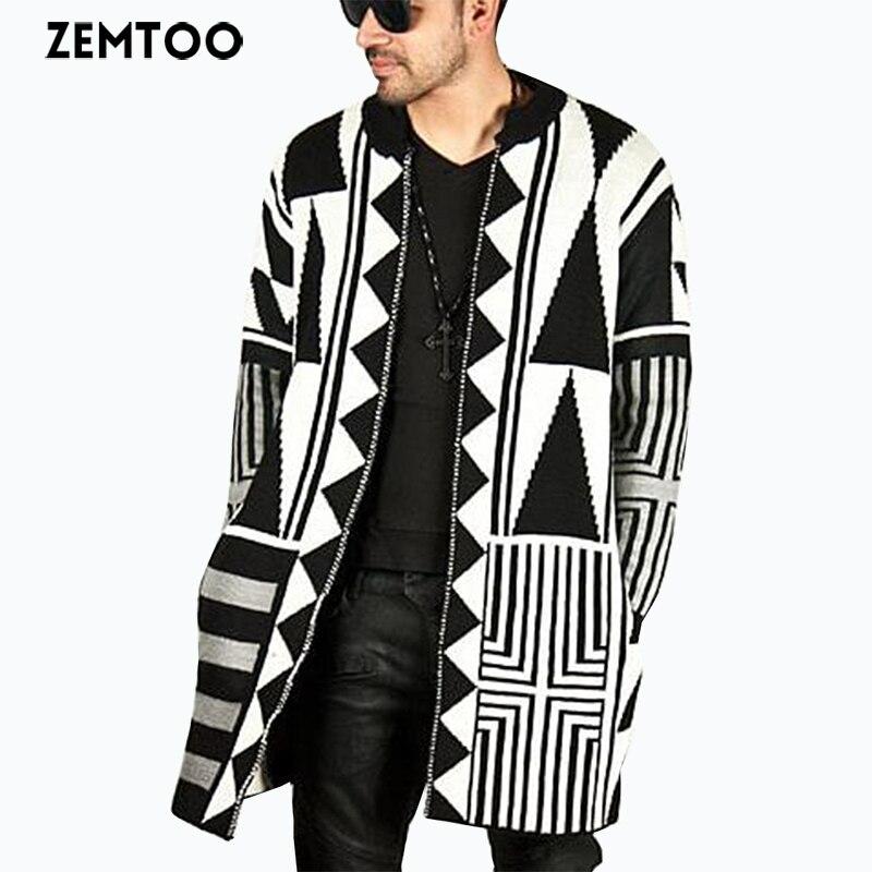 ZEMTOO-سترة كارديجان للرجال ، بنمط هندسي ، معطف علوي ، أزياء FD012