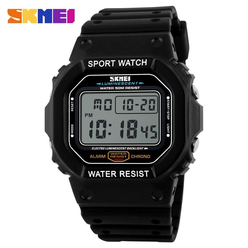 SKMEI Men Digital Watches 5Bar Waterproof Alarm Clock Fashion Military Man Digital Watch LED Digital Outdoor Sport Wristwatches